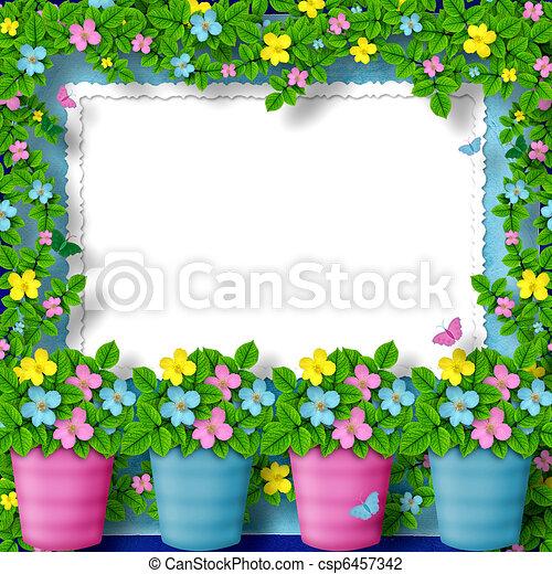 fleur, félicitation, guirlande, cadre, salutation, ou - csp6457342