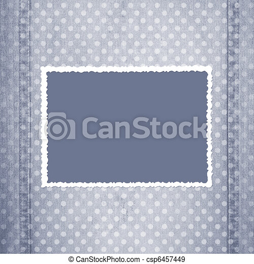 Abstract grey jeans background with fretted frame  - csp6457449
