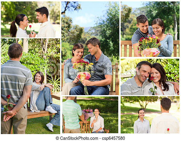 Collage of lovely couples enjoying a moment together in a park - csp6457580
