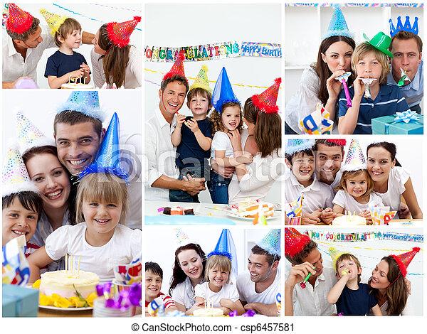 famiglia,  collage, insieme, festeggiare, compleanno, casa - csp6457581