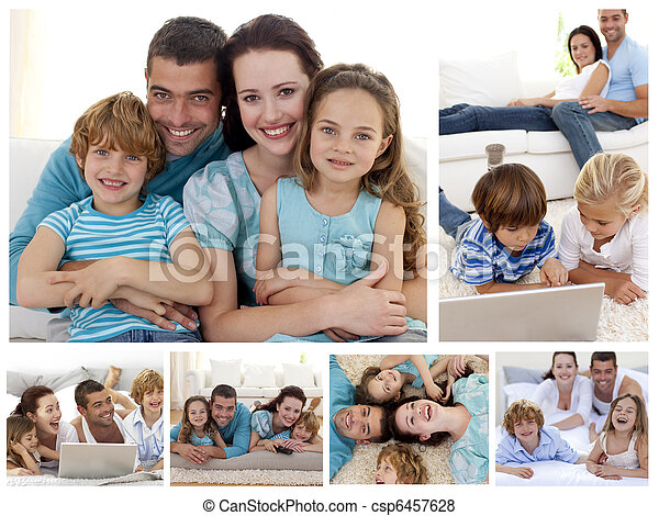 Collage of a family spending goods moments together at home - csp6457628
