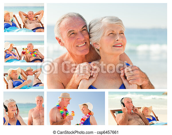 Collage of an elderly couple spending time together on a beach - csp6457661