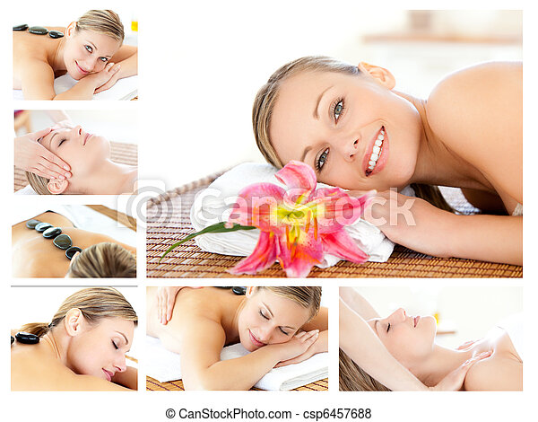 Collage of a young girl being massaged while relaxing - csp6457688