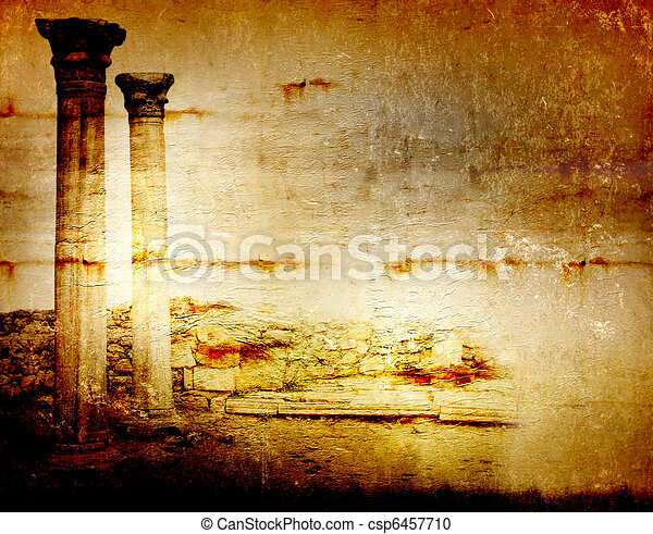 Abstract scratch ancient background in scrapbooking style with ruins - csp6457710