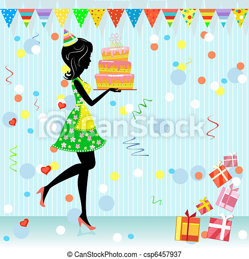 fun birthday party with gifts - csp6457937
