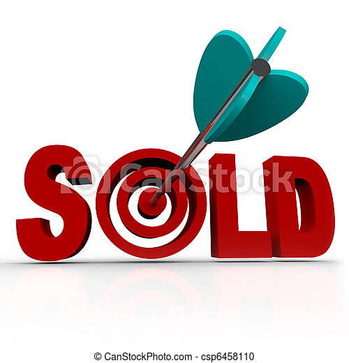 Sold - Arrow in Word Bullseye - Done Deal Transaction - csp6458110