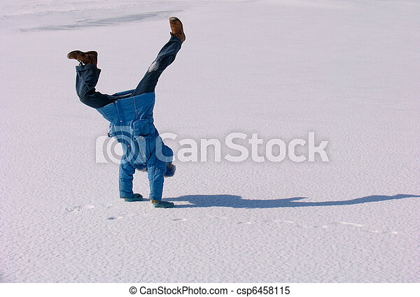 Cartwheel on the snow - csp6458115