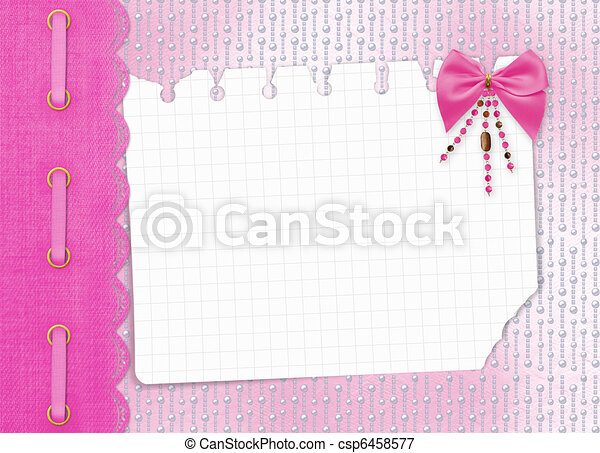Card for invitation or congratulation with bow and beads - csp6458577