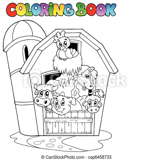 Coloring book with barn and animals - csp6458733