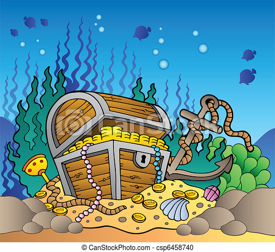 Sea bottom with old treasure chest - csp6458740