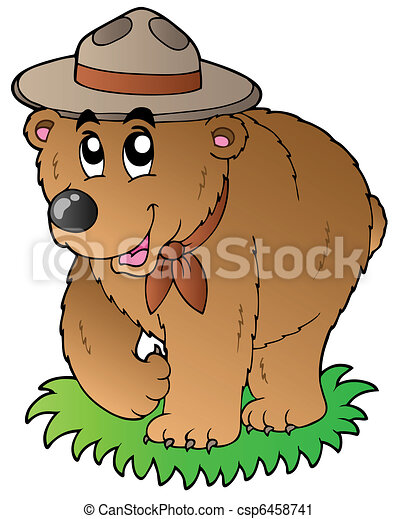 Cartoon happy scout bear - csp6458741