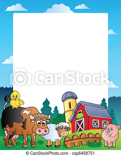 Country frame with red barn 1 - csp6458751