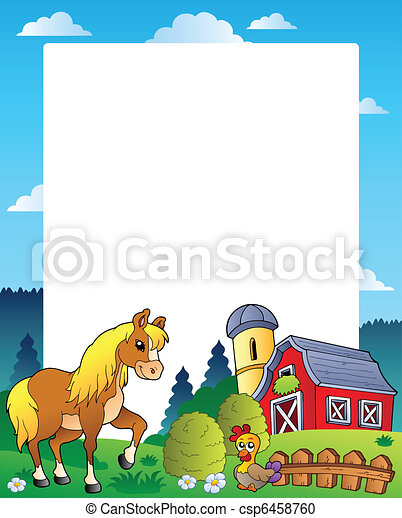 Country frame with red barn 4 - csp6458760