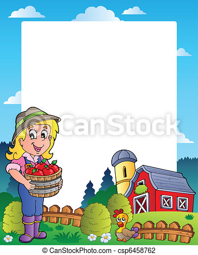 Country scene with red barn 6 - csp6458762