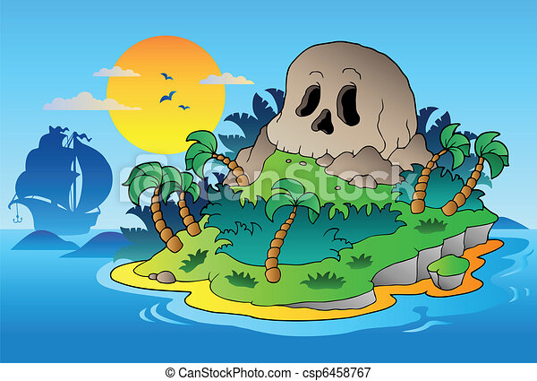 Pirate skull island with ship - csp6458767