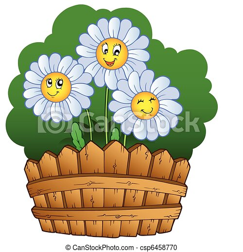Three daisies with fence - csp6458770