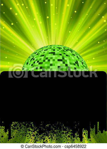 Disco ball poster with burst rays. EPS8 - csp6458922