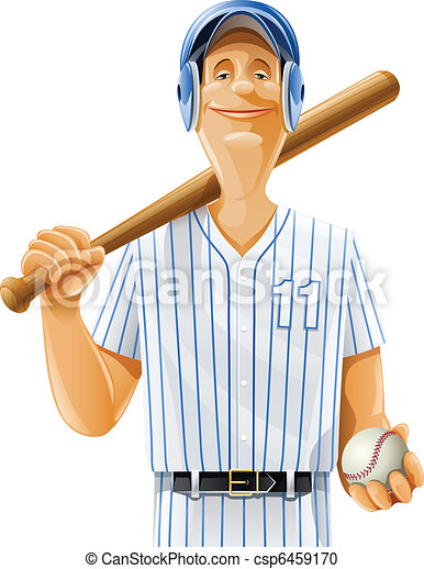 baseball player with bat and ball - csp6459170