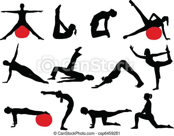 Pilates silhouettes - csp6459281