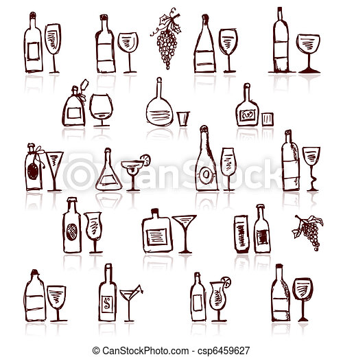 Set of alcohol's bottles and wineglasses - csp6459627
