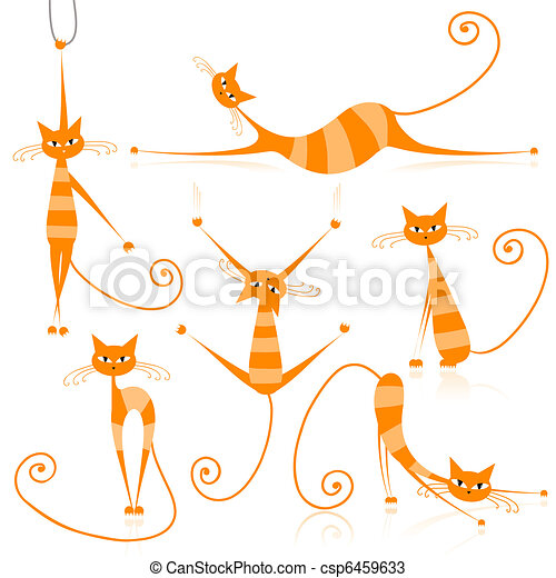 Graceful orange striped cats for your design - csp6459633