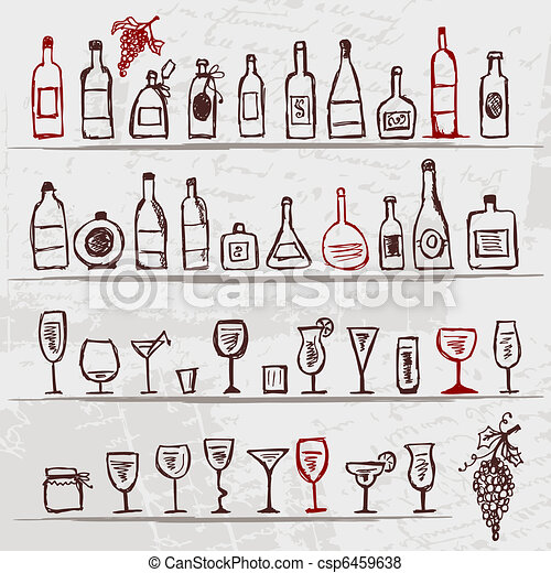 Set of alcohol's bottles and wineglasses on grunge background - csp6459638