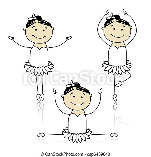 Cute little ballet dancers for your design - csp6459640