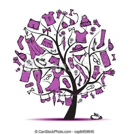Wardrobe, clothes on tree for your design  - csp6459645