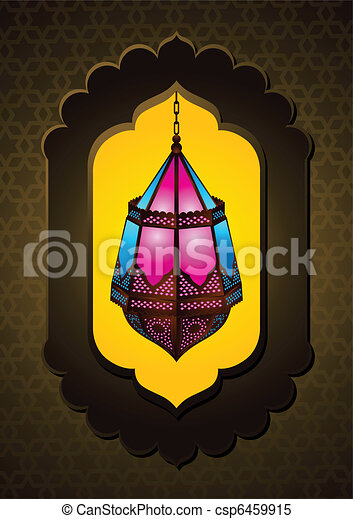Beautiful Islamic Lamp in arch - csp6459915