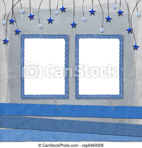 Grunge slide from grunge papers with beads and stars - csp6460008