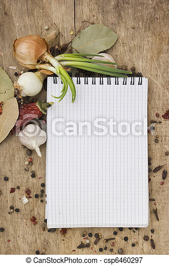 notebook to write recipes with spices - csp6460297