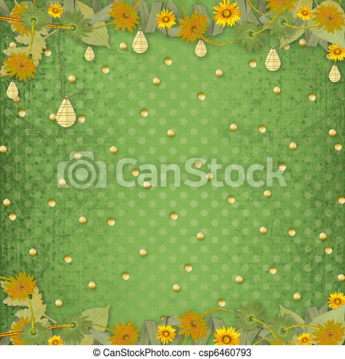 Grunge papers design in scrapbooking style with frame and bunch of flowers - csp6460793
