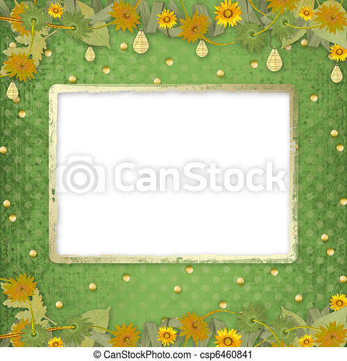 Grunge papers design in scrapbooking style with frame and bunch of flowers - csp6460841
