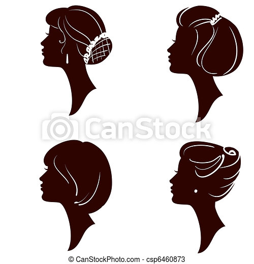 beautiful women and girl silhouettes with different hairs - csp6460873