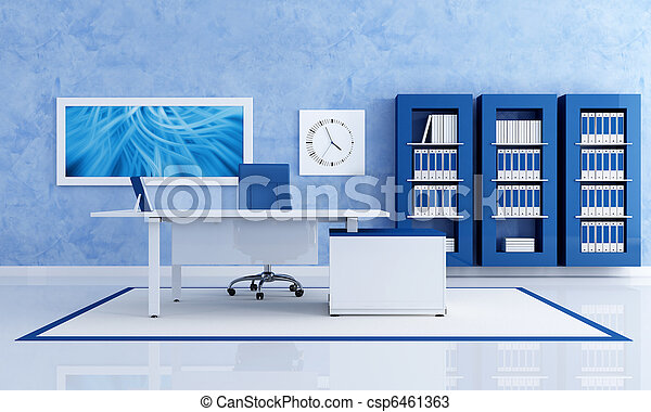 contemporary blue office - csp6461363