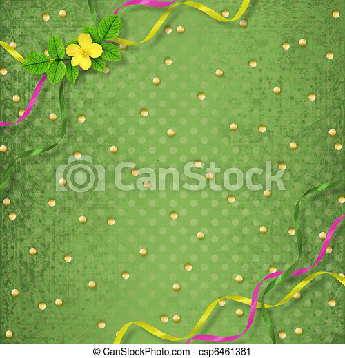 Grunge papers design in scrapbooking style with frame and bunch of flowers - csp6461381