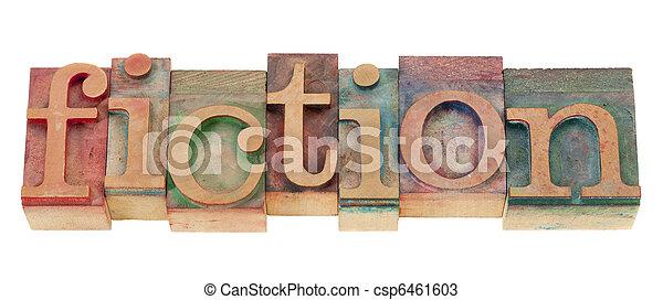 fiction in wood letterpress type - csp6461603