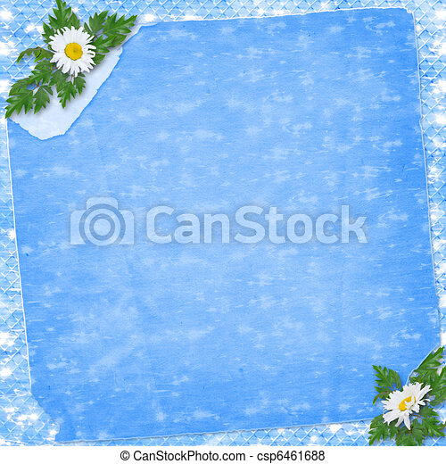 Grunge paper in scrapbooking style with bunch of daisy - csp6461688