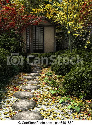 Illustration De Maison Th Japonaise Jardin Japonaise