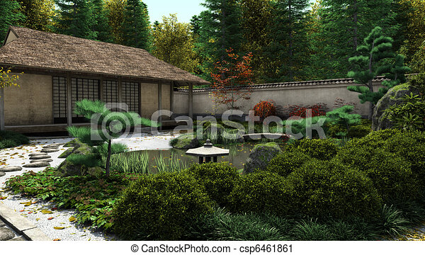 Japanese Tea House and Pond - csp6461861