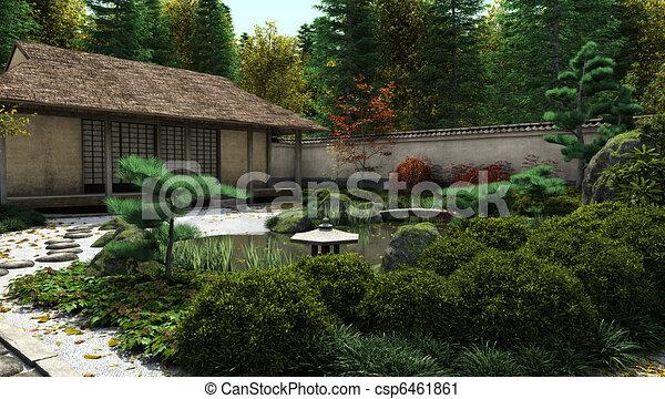 Japanese Tea House and Pond - csp6461861