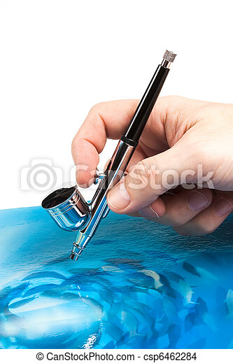 Airbrush in hand - csp6462284
