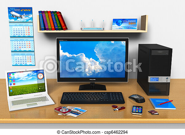 escritório,  laptop, dispositivos,  desktop, outro, computador, local trabalho - csp6462294