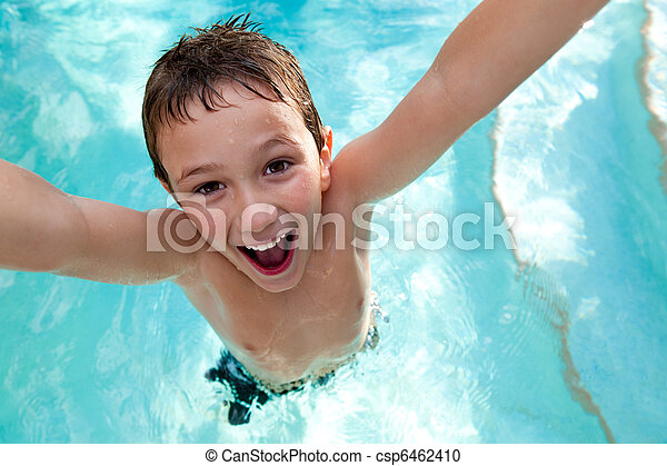 Joyful kid in a swimming pool - csp6462410