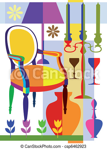 Vectors of armchair and home interior objects abstract for Interior house design clipart