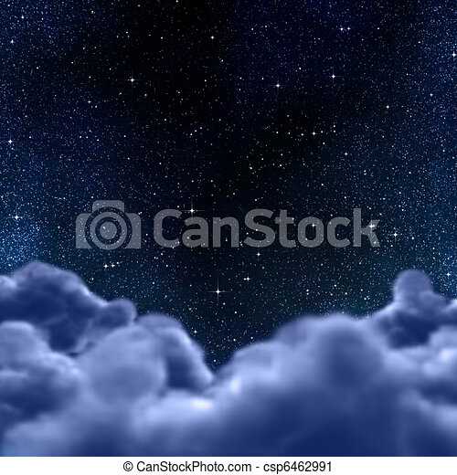 space or night sky through clouds - csp6462991