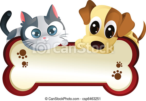 Vector Clip Art of Dog and cat with banner - A vector ...