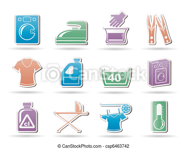 Washing machine and laundry icons  - csp6463742