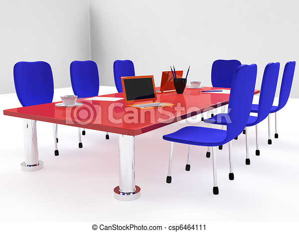 Clipart of Conference room with red desk and chairs - Conference ...