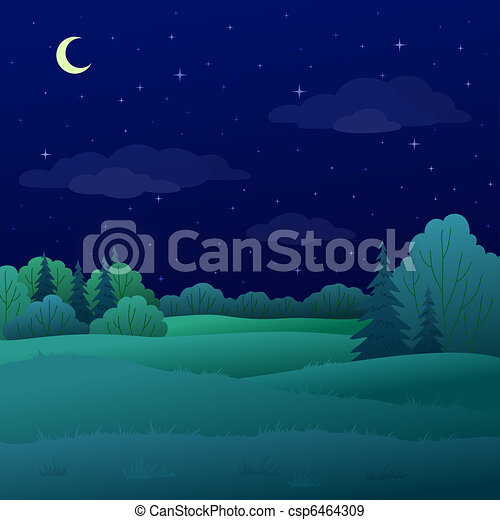 Landscape, night summer forest - csp6464309